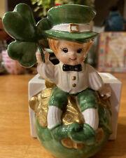 VINTAGE LEFTON ST. PATRICK'S DAY HOLIDAY PLANTER IRISH ELF BOY SHAMROCK HEADVASE