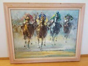 "Anthony Veccio Original Oil Painting Jockeys Racing LARGE 40"" x 30.5"" Beautiful!"