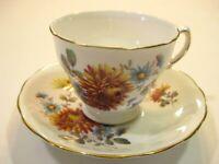 Queen Anne Bone China Tea Cup & Saucer Yellow Chrysanthemum GoldnTrim England