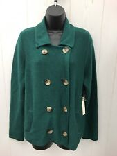SUSAN BRISTOL Sweater Womens XL Cardigan Green Double Breasted Wool Blend NEW