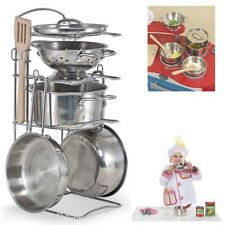 Hand-Polished Stainless Steel Pots And Pans Pretend Play Kitchen Set For Kids
