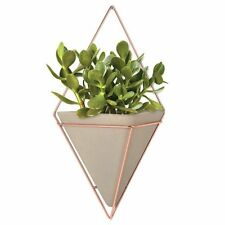 Umbra TRIGG Large WALL VESSEL Concrete COPPER Organiser FLOWER POT Holder