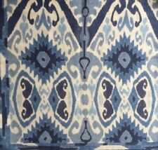 LEE JOFA Trent Ikat blues central asian irate printed linen  cotton remnant new