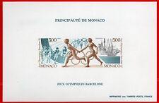 MONACO bloc spéciaux n° 16a Jeux Olympiques de BARCELONE, TB ** et R! 270€