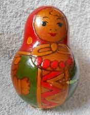 """Wooden Hand Engraved Painted Roly Poly Bell Musical Doll Matryoshka 3-1/2"""" Tall"""