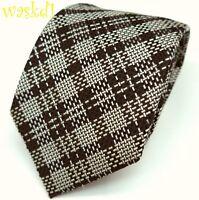 TOM FORD bold Black & White Diagonal PLAID silk jacquard MENS tie NWT Authentic!