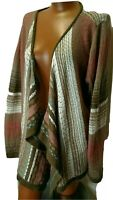 Lane Bryant 22/24 Open Weave Knit Open Front Striped Cardigan Size 3x