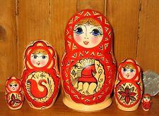 russe dipinte a mano OPACO piccola matrioska bambole 5 MEZEN Mezenskaja STILE