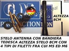 STELO ANTENNA CM 10 BANDIERA TEDESCA FILETTO M5 M6 AUDI GOLF PASSAT POLO OPEL