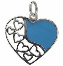 TURQUOISE HEART PENDANT 925 Sterling SILVER 29mm Drop : Love Gemstone Ladies