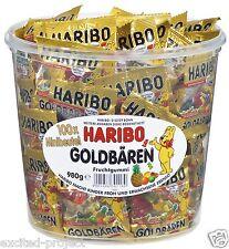 Haribo Gold Bears German Gummy Candy 100 Mini Bags In Big Tin - 980g / 34.56 oz