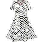 Girls Dress Dot Bow Tie Short Sleeve Summer Beach Sundress Size 4-12