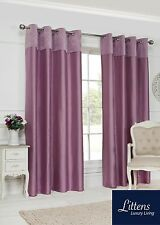 Velvet Top Border Faux Silk Ready Made Pair Curtains Eyelet Ring Top Fully Lined