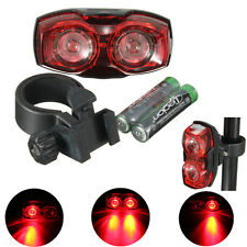 3 Modes 2 beads Waterproof LED Bike Bicycle Rear Red Light Lamp Front Tail&2xAAA