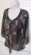 Dressbarn Beautiful Print Blouse Top w/ 3/4 Sheer Sleeve self tie at neck *Sz M