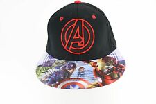 Marvel Comic Avengers Assemble Logo Bill Print Snapback Baseball Cap Black/ Red