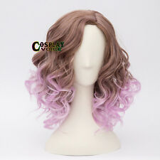 Fancy Party Lolita Purple Mixed Brown 35CM Short Curly Women Girls Cosplay Wig