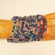 "2 1/4"" Wide Blue/Pink Multi Strand Beaded Bangle Handmade Cuff Bracelet"