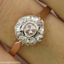 ANTIQUE VINTAGE ROSE CUT DIAMOND CLUSTER ENGAGEMENT WEDDING RING 18K RG