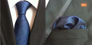 Tie Pocket Square Set Blue Patterned Handmade 100% Silk UK Seller