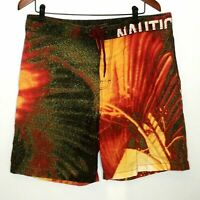 Nautica Mens Board Shorts 36 Red Yellow Abstract Side Pockets Swim Surf Beach