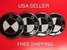 BMW 4Pcs Black 65mm Domed Quality Emblem Badge Wheel Center Cap Decals Stickers