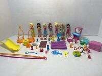 Lot Of Polly Pocket Dolls + Accessories & Animals Dog Cats Drinks Swings Guitar