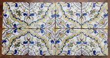 Antique Unique Set of 8 Tiles Dutch Delft Maiolica Tile Floral/Ornamental