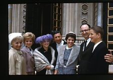 1960s 35mm Kodachrome Photo slide Well Dressed Family at Temple  Ladies Fashion