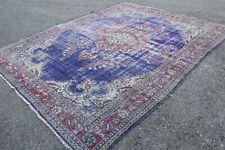 """Vintage Handmade Turkish Anatolian Blue Area  Rug Carpet 10'3""""x8'"""