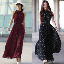 UK Women Boho Chiffon Polka Dot Maxi Long Belt Dress Summer Beach Party Sundress