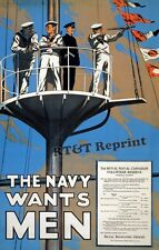 Historical WWI 1915 Canadian Navy Recruitment Poster 11x17