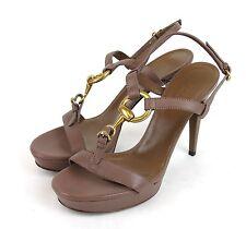 New Gucci Mauve Leather Platform Sandal w/Horsebit, 38.5/US 8.5 310369 6820