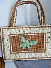 Retro Vintage Counted Cross Stitch - Purse Hand Bag Tote - Butterfly Flowers