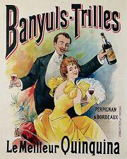 GEACHE VINTAGE DRINK POSTER BANYULS-TRILLES QUINQUINA PERPIGNAN BORDEAUX ci 1900