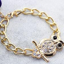 Retro Owl Alloy Rhinestone Bracelet Chain Bangle Women Fashion Jewelry Gift