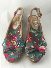 Poetic Licence Garden Variety Floral Wedge Size 9M Blue Pink Flowers