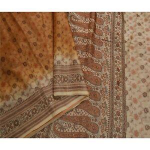 Sanskriti Vintage Brown Sarees 100% Pure Silk Woven Craft 5 Yd Soft Fabric Sari