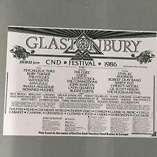 GLASTONBURY FESTIVAL 1986 CONCERT POSTER (A3 SIZE) HOUSEMARTINS  GIL SCOTT HERON