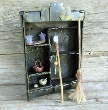 SET dollhouse miniature witch wizard doll accessories broom, utensils staff mini