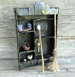 SET dollhouse miniature witch wizard doll accessories broom, utensils staff mini