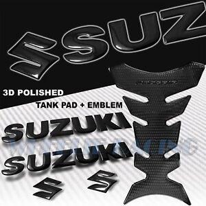 """PERFORATED BLACK PRO GRIP FUEL TANK PAD+5.75"""" SUZUKI LOGO+LETTER EMBLEM STICKER"""
