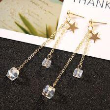 Fine Ladies Gold Coloured Drop Tassel Earrings Long Chain Fashion Jewellery #JK