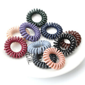 Coiled Ponytail Holder Plastic Elastic Spiral Hair Tie Band Telephone Wire Ring