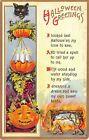1911 Black Cat & Jack O'Lantern Halloween Greetings post card Bamberger