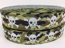 "BTY 7/8"" Camo Pirates Skull Crossbones Grosgrain Ribbon Hair Bows Lisa"