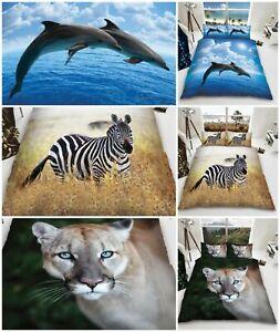 3D Dolphin Animal Print Duvet Cover Quilt Cover Bedding Set Single Double King