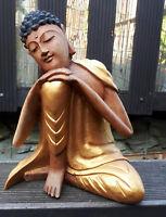 handgefertigt 26cm Holz Buddha Kopf Mönch Buddhismus Feng Shui