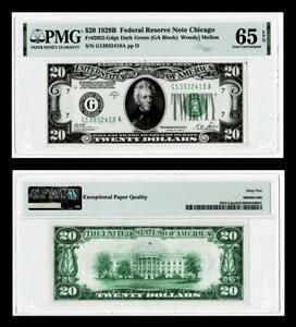 FR.2052-G DGS DARK GREEN 1928-B $20 DOLLAR  FEDERAL RESERVE NOTE~PMG 65EPQ