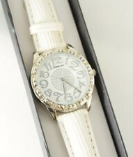 Croton Women's Genevex White Leather Strap Crystal Bezel White Dial Watch